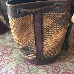 Bags - Leather and straw bucket bag